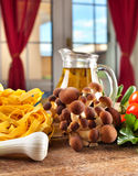 Ingredients for cooking noodles with mushrooms Royalty Free Stock Photos