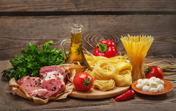 Ingredients for cooking pasta, Italian food Stock Photo