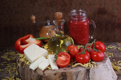 Ingredients for cooking pasta Royalty Free Stock Photography