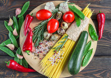 Ingredients for cooking pasta with vegetables Royalty Free Stock Image