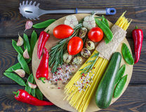 Ingredients for cooking pasta with vegetables Royalty Free Stock Photos