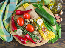 Ingredients for cooking pasta with vegetables Stock Images