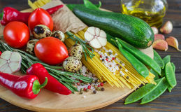 Ingredients for cooking pasta with vegetables Royalty Free Stock Photo