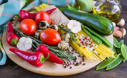 Ingredients for cooking pasta with vegetables Stock Photo