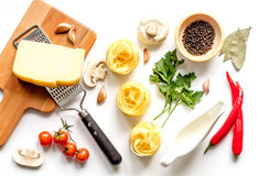 Ingredients for cooking paste on white background top view Stock Image