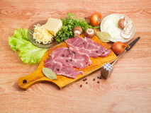 Ingredients for cooking pork chops baked with onion, mushrooms, Royalty Free Stock Photo