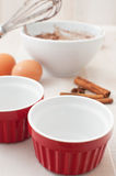 Ingredients for cooking small chocolate cakes Stock Image