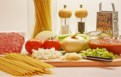 Ingredients for Cooking Spaghetti Stock Images