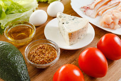 Ingredients for cooking traditional American Cobb Salad Stock Photos