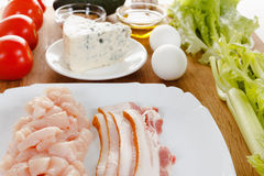 Ingredients for cooking traditional American Cobb Salad Royalty Free Stock Image