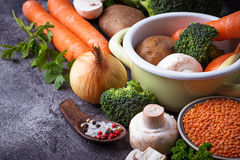 Ingredients for cooking vegetable soup Stock Photo