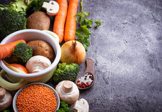 Ingredients for cooking vegetable soup Stock Photography