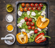 Ingredients for cooking vegetarian salad  assortment of farm fresh vegetables   wooden box wooden rustic background top vie Stock Photos