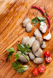 Ingredients for cooking vongole Stock Photo