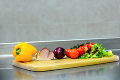 Ingredients for cooking on a wooden board Stock Photo