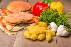 Ingredients for crab pasta Stock Images