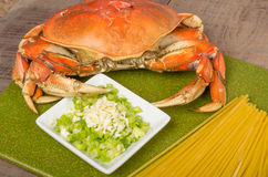 Ingredients for crab pasta Stock Photography