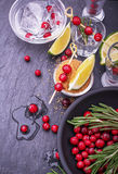 Ingredients for cranberry cocktail with lime and Royalty Free Stock Image