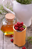 Ingredients for cranberry drink with honey Royalty Free Stock Photography