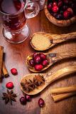 Ingredients for cranberry hot mulled wine Stock Image