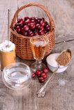 Ingredients for cranberry sauce organic wild Stock Images