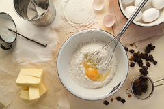 Ingredients for cupcake with raisins Stock Images