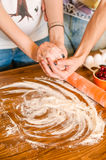 Ingredients for dessert on kitchen wooden table, cooking, recipe Royalty Free Stock Photography