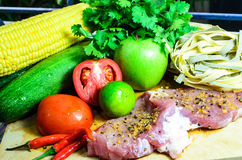 Ingredients For Dinner. Meat and vegetable ready to be cooked Royalty Free Stock Photos