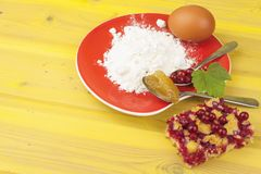 Ingredients for domestic production currant dessert. Flour, eggs, honey and red currants. Royalty Free Stock Photos