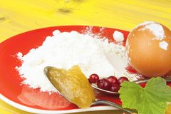 Ingredients for domestic production currant dessert. Flour, eggs, honey and red currants. Chef prepares the ingredients to bake a dessert Royalty Free Stock Image
