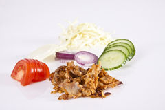 Ingredients for a donner kebab. Ingredients ready for a donner kebab Royalty Free Stock Photography