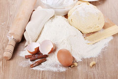 Ingredients for the dough Royalty Free Stock Images