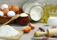Ingredients for the dough. Royalty Free Stock Images