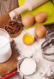 Ingredients for the dough Royalty Free Stock Photos