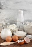 Ingredients for the dough. On the wooden table royalty free stock image