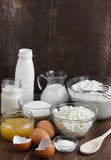 Ingredients for the dough. On the wooden table stock image