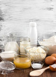 Ingredients for the dough. On the wooden table royalty free stock images