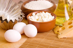 Ingredients for the dough wooden table. Photo for a design Royalty Free Stock Image