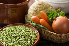 Ingredients for dried split pea vegetarian soup. Stock Photography