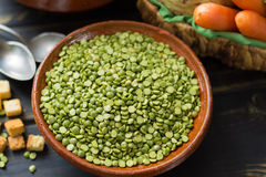 Ingredients for dried split pea vegetarian soup. Royalty Free Stock Photography