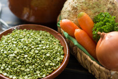 Ingredients for dried split pea vegetarian soup. Royalty Free Stock Photo