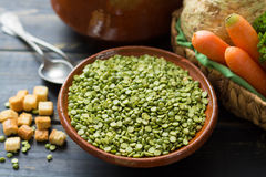 Ingredients for dried split pea vegetarian soup. Stock Photo