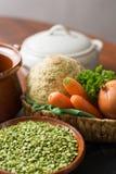 Ingredients for dried split pea vegetarian soup. Royalty Free Stock Image