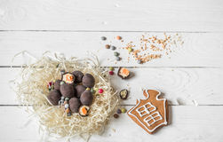 Ingredients Easter and chocolate eggs. On white wooden table,holiday concept and preparation Royalty Free Stock Photography