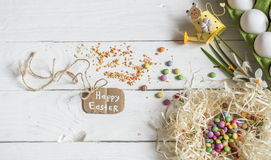 Ingredients Easter and chocolate eggs Royalty Free Stock Photo