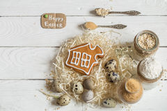 Ingredients Easter and chocolate eggs Royalty Free Stock Image