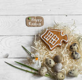 Ingredients Easter and chocolate eggs. On white wooden table,holiday concept and preparation Royalty Free Stock Photos