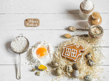 Ingredients Easter and chocolate eggs Royalty Free Stock Images