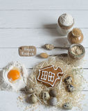 Ingredients Easter and chocolate eggs. On white wooden table,holiday concept and preparation Stock Images