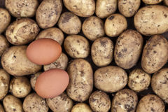 Ingredients for eggs and chips (UK) / fries (US) Stock Photo